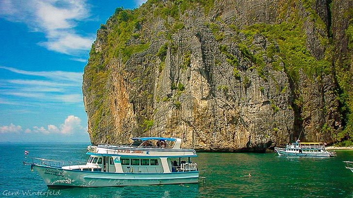 Dive Boats at the entrance of Maya Bay, Koh Phi Phi, Krabi Thailand